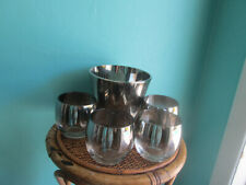 dorothy thorpe roly poly Silver fade Lot 7 glasses & Ice Bucket