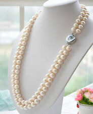 New 2row  9-10mm white akoya round white PEARL necklace mabe 19-20""