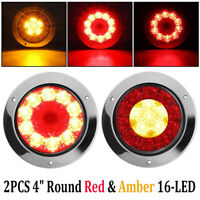 "2X 4"" Round Red/Amber 16-LED Truck Trailer Brake Stop Turn Signal Tail Lights"