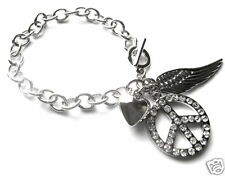 PEACE SIGN HEART WING MULTI CHARM BRACELET 7.5""