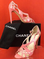 NIB CHANEL PATENT LEATHER PINK STRAPPY CC LOGO SANDALS PUMPS 40.5 $925