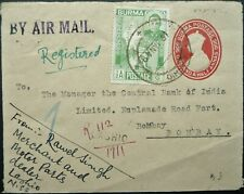 BURMA 19 JAN 1948 REGISTERED AIRMAIL COVER FROM LASHIO TO BOMBAY INDIA - SEE!