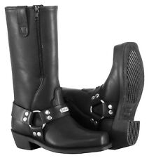 NOS RIVER ROAD 098227 ZIPPER HARNESS BOOTS BLACK SIZE WOMENS 7.5