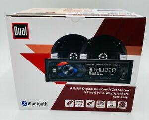 "NEW - Dual AM/FM Digital Bluetooth Car Stereo & Two 6.5"" 2-Way Speakers XDM17SPK"