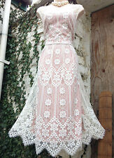 BNWT Ethereal&Romantic MONSOON nude/ivory floral scalloped lace midi dress sz 16