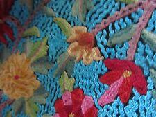 Turquesa/Jamavar/2 capas Chal de cachemira/Antiguo, bufandas, escharpe, grande/trabajo hecho a mano