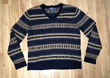 Rare Vintage Polo Ralph Lauren Aztec Sweater Size XL Tribal V Neck