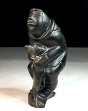 Old Vtg Native Inuit Eskimo Indian Carved Steatite Soapstone Carving Man w/ Fish