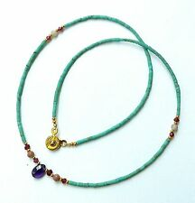 Afghan Turquoise, Garnet Tiny Seed Beads Necklace with Amethyst Pendant Gemstone