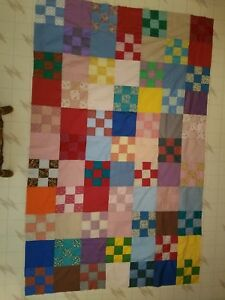 "Hand Made quilt top Squares with Pattern Vintage 53"" x 84"""