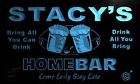 p528-b Stacy's Home Bar Beer Family Name Neon LED Sign