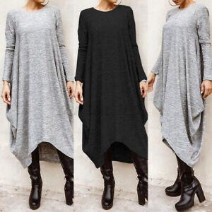 Women Fashion Batwing Long Shirt Dress Oversize Drape High Low Maxi Jumper Dress