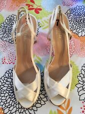 Kate Spade Cream Ivory Cream Off White  Satin Heels Sandals Shoes Size 7 NWT