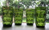 Indiana Colony Glass 4 Green Kings Crown 12 ounce Tumblers