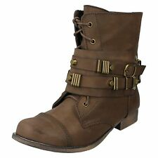 L8R653 - Ladies Coco Synthetic Brown Zip Up Ankle Boots- Great Price!
