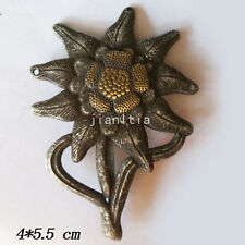 WWII WW2 GERMAN OFFICER EDELWEISS UNIFORM HAT INSIGNIA MOUNTAIN METAL PIN BADGE