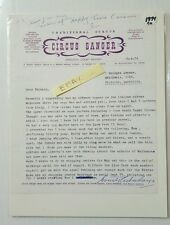 Circus Sanger 19-4-74 Letter Signed Count Sanger About Appearances Typed HS