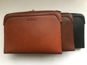 Genuine Italian Leather Portfolio Laptop Case w/ Dust Bag & Gift Box See Pics!!