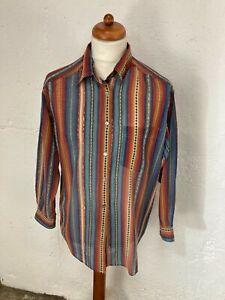 Men's Vintage Bohemian Multi Coloured Stripe Long Sleeve Shirt Size L