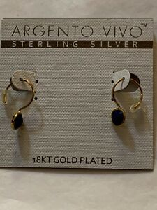 Argento Vivo Sterling Silver With 18K Gold Overlay Earrings New