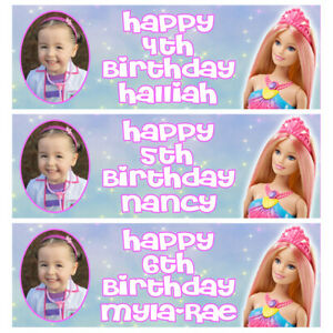 BARBIE PRINCESS PHOTO Personalised Birthday Banner - BARBIE Party Banner