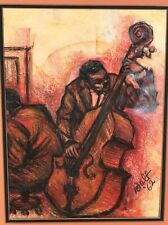 Original Crayon Drawing of Jazz Musicians by Bolt