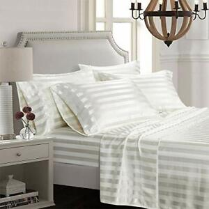6 Piece Satin Italian Style Bed Sheet Set Deep Pocket Striped Queen Off White