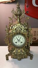 Ornate Brass Antique Mantle Clock w/ Chime Bell Decorated w/ a Lions Head