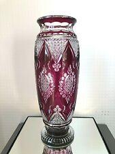 """Val St Lambert - Vase modèle """"Evian"""" - pur art déco - doublé violet - CdF 1926"""