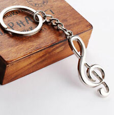 Keychain Musical Note Symbol Treble G Clef Silver Keyring Bag Car Jewelry Charms