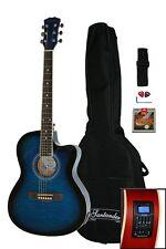 Santander 4/4 Akustik Western Gitarre Set Cutaway Stimmgerät Tonabnehmer Blueb.