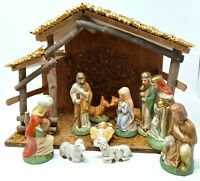 Vintage 11 piece Ceramic Nativity Figures with Wood Manger and Box Taiwan