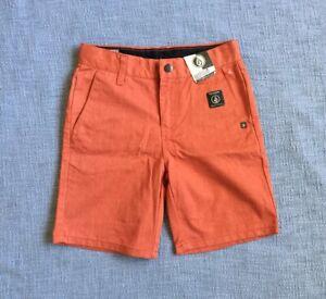 NWT Volcom Orange Shorts 6 Kids/Children Adjustable Waistband