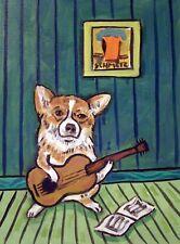 CORGI PRINT guitar art dog print 13x19 modern dog folk art pop JSCHMETZ