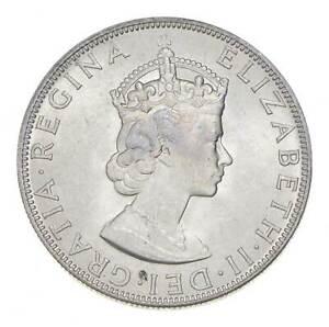 Choice BU Unc 1964 Bermuda 1 Crown Silver Coin - Mint State *803