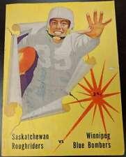 1957 Official CFL Program Saskatchewan Roughriders Winnipeg Blue Bombers P 51229