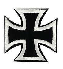 """Black White Iron Cross Embroidered Patch 2.5"""" DIY Iron on Gothic Biker Chopper"""