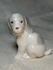 "Vintage Porcelain White and Grey Beagle Figurine by George Good Taiwan 2.75""."
