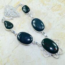 "Handmade Natural Bloodstone Jasper 925 Sterling Silver Necklace 19 1/4"" #W97824"