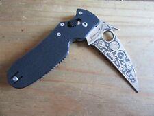 "NEW Spyderco P'kal C103GP Folding Knife - 3"" Blade, Black G10 - Hand Engraved!"