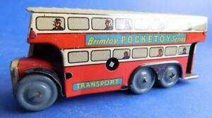 Vintage Tin Wind up Brimtoy POCKETOY Series London Double Decker Bus