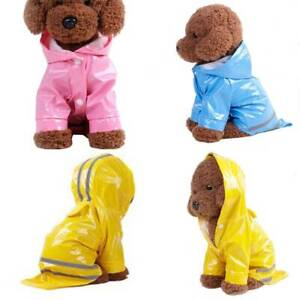 Pet Puppy Waterproof Raincoat Reflective Jacket Coat Dog Hooded Rain Coat