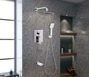 Concealed Thermostatic Shower Mixer overhead handshower Bathtub Spout Full Brass