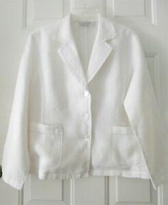Chico's white linen unlined jacket blazer Euro sz 1 U S sz 8 EUC polished look