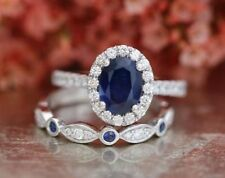 1.90Ct Oval Cut Sapphire Halo Bridal Set Engagement Ring 14K White Gold Over