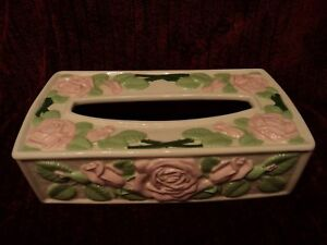 Vtg Shabby Rose Cottage Ceramic Tissue Box Cover GIFT french chic country RARE