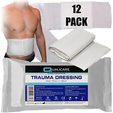 12 x qualicare di Emergenza Trauma FFD campo Sangue Ferita Benda Medicazione 10cmx18cm