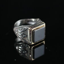 Turkish Handmade Ottoman 925K Sterling Silver Onyx Men's Ring Size 10,11,12