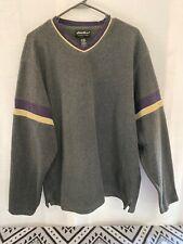 New listing Vintage Men's Eddie Bauer Pullover Sweater Large Gray Striped V Neck 80's 90