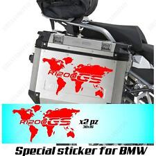 PAIR OF STICKERS WORLD MAP BMW R 1200 GS LC GLOBE FOR SIDE CASES RED